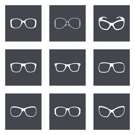 Glasses and sunglasses silhouettes set illustration. Vector