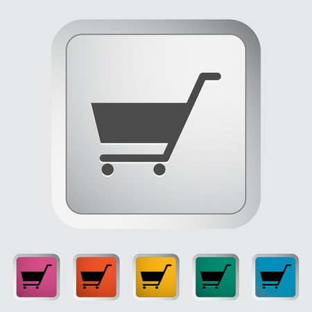 Cart. Single flat icon on the button illustration. Vector