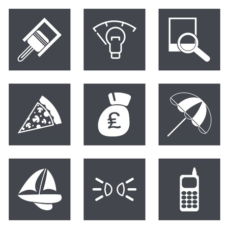 british money: Icons for Web Design and Mobile Applications set illustration.