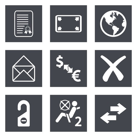 airbag: Icons for Web Design and Mobile Applications set  illustration. Illustration