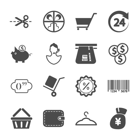 Shopping icons. Gray- white set illustration. Vector