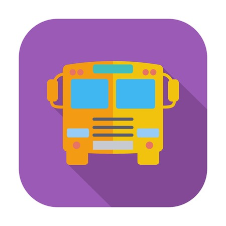 Bus. Single flat color icon illustration. Vector
