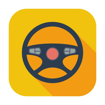 Car Steering Wheel. Single flat color icon illustration. Vector