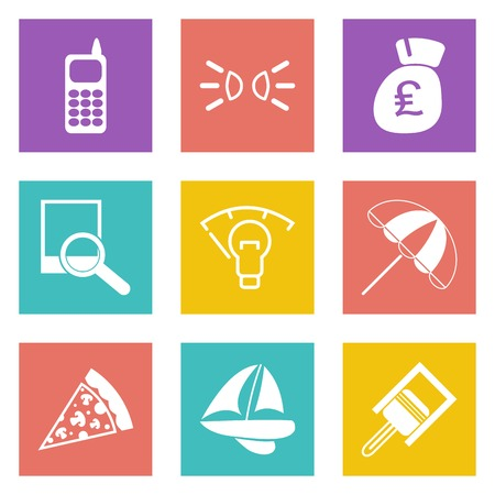 british money: Color icons for Web Design and Mobile Applications set illustration. Illustration