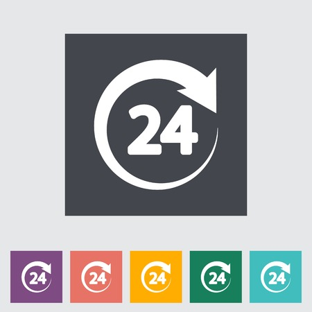 24 hours: 24 hours. Single flat icon. Vector illustration.