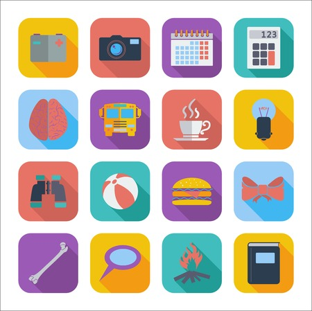 Color flat icons for Web Design and Mobile Applications. Set 4. Vector illustration. Vector