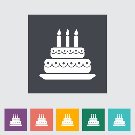 Cake. Single flat icon on the button. Vector illustration. Vector