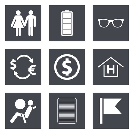 airbag: Icons for Web Design and Mobile Applications set 47. Vector illustration.