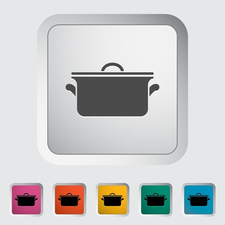 Pan. Single flat icon on the button. Vector illustration.