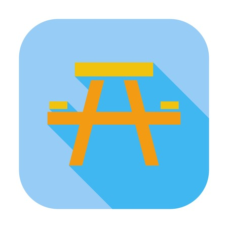stowing: Camping table. Single flat color icon. Vector illustration.