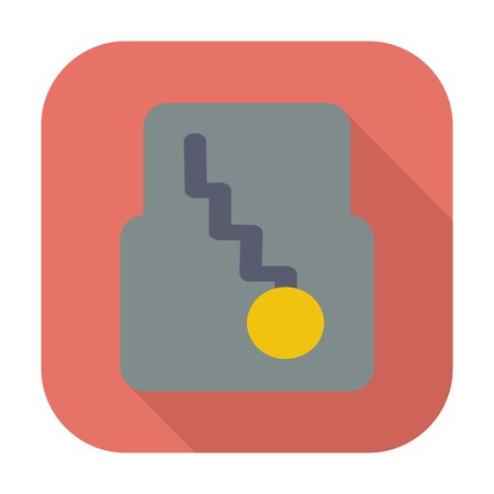 automatic: Automatic gear. Single flat color icon. Vector illustration.