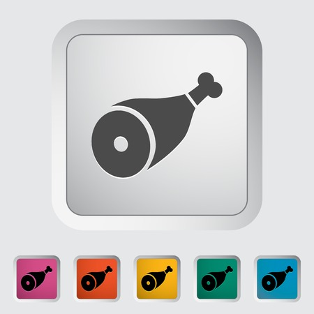 Gammon. Single flat icon on the button. Vector illustration. Illustration