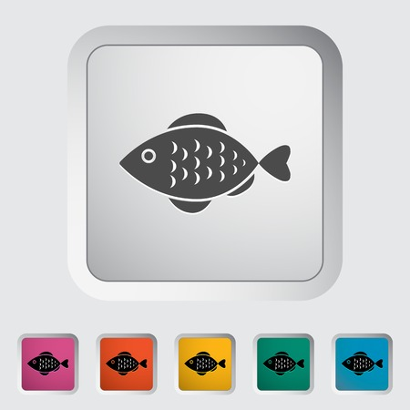 single fin: Fish. Single flat icon on the button. Vector illustration.
