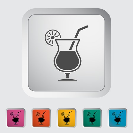 Cocktail. Single flat icon on the button. Vector illustration. Vector