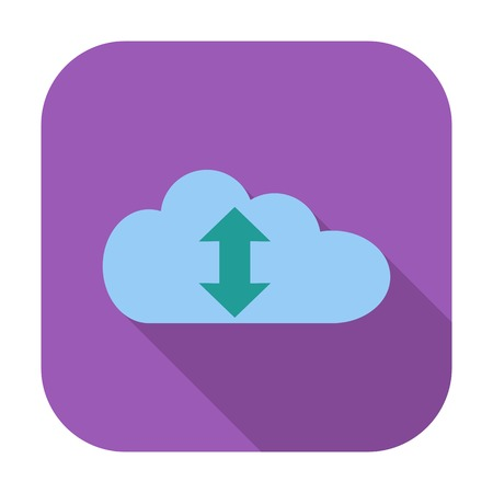 Cloud computing. Single flat color icon. Vector illustration. Vector