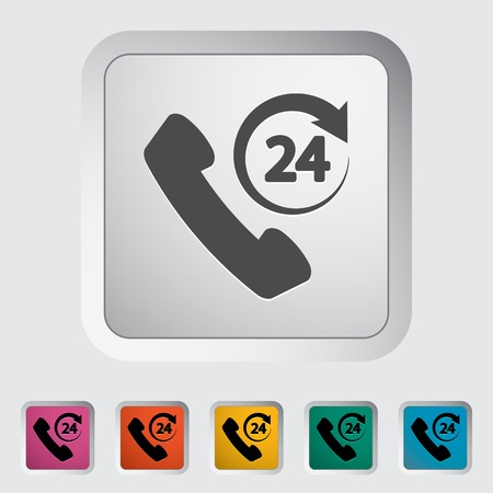 call center icon: Support 24 hours. Single flat icon. Vector illustration. Illustration