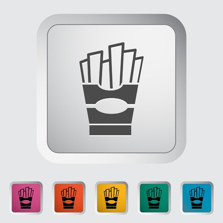 French fries. Single flat icon on the button. Vector illustration. Vector