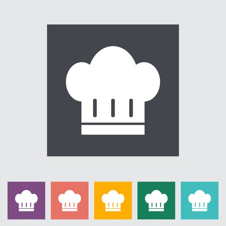 kitchener: Chef hat. Single color flat icon on the button. Vector illustration.