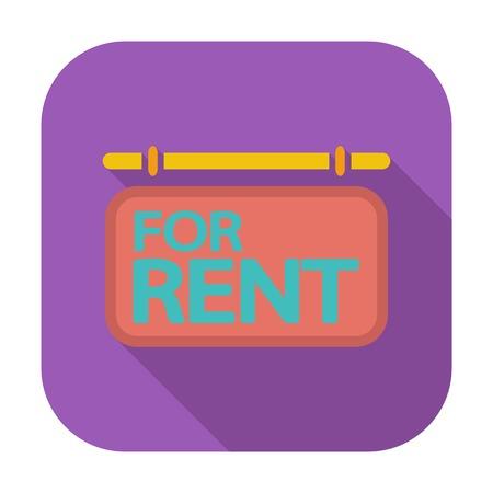for rent: For rent. Single flat color icon. Vector illustration.