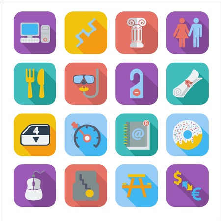 Color flat icons for Web Design and Mobile Application. Vector illustration. Vector