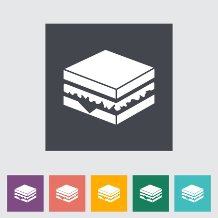 Sandwich. Single flat icon on the button. Vector