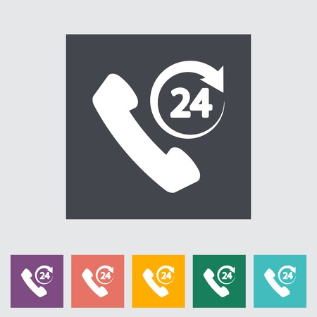 24 hours: Support 24 hours. Single flat icon.