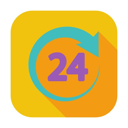 24 hours: 24 hours. Single flat color icon.  Stock Photo