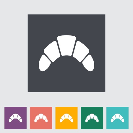 Croissant. Single flat icon on the button.  photo