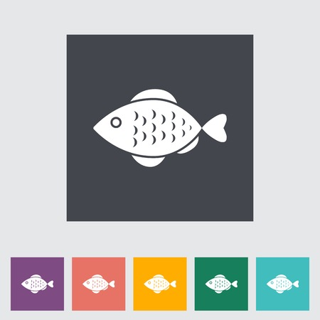 Fish. Single flat icon on the button.  photo