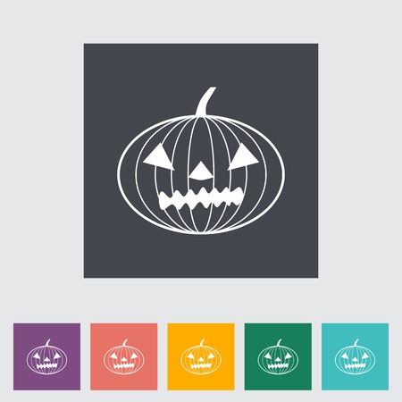 Pumpkins for Halloween. Single flat icon on the button. Stock Vector - 30016597