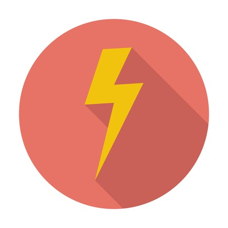 Lightning. Single flat color icon. Vector