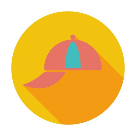 Peaked cap. Single flat color icon.  Vector