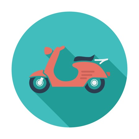 Scooter. Single flat color icon.  Illustration