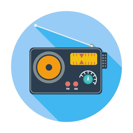 Radio. Single flat color icon. Vector
