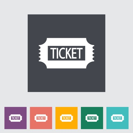 admit one: Ticket. Single flat icon on the button.