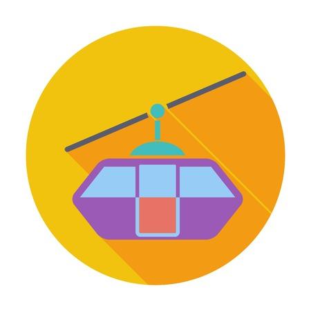 rope way: Funicular railway. Single flat color icon. Vector illustration. Illustration
