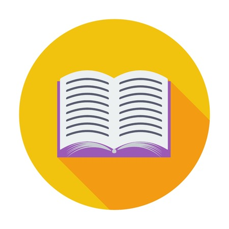open diary: Book. Single flat color icon. Vector illustration.