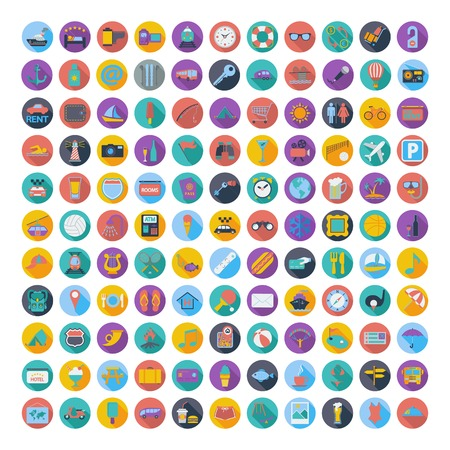 121 icons vacation and travel. Vector illustration.