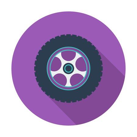 car wheel: Rueda de coche. Soltero icono de color plano. Ilustraci�n del vector.