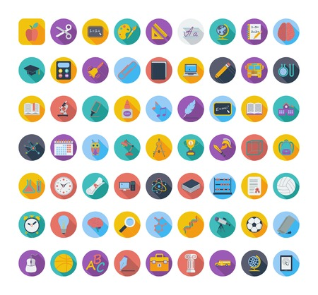 Education color flat icons. Vector illustration.   Vector