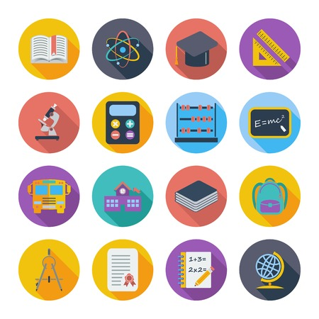 Education flat color icon on the circle. Vector illustration. Vector