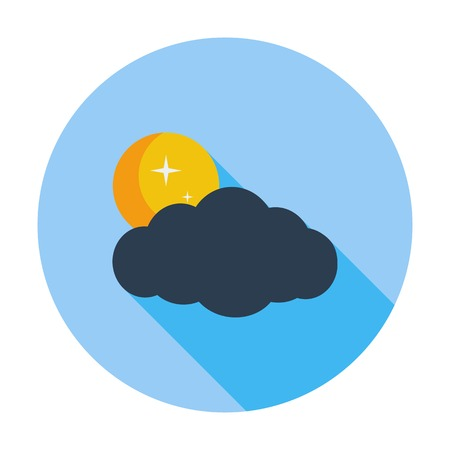 meteorological: Cloud, moon, star. Single flat color icon. Vector illustration.