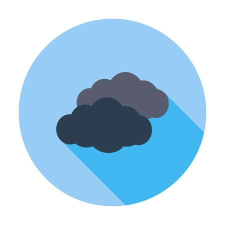 overcast: Overcast. Single flat color icon. Vector illustration.