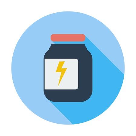 preserves: Jar icono plana. Soltero icono de color plano. Ilustraci�n del vector.