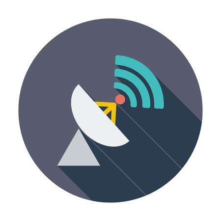 gsm: Satellite antenna. Single flat color icon. Vector illustration.