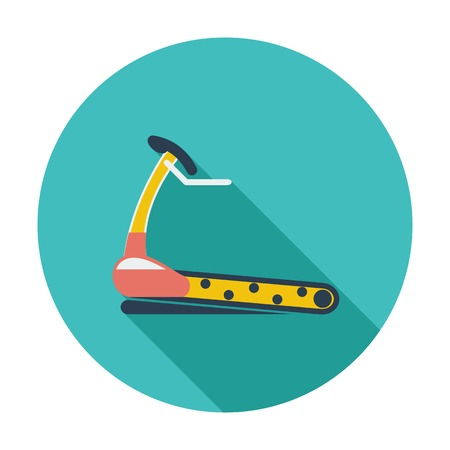 cardiovascular exercising: Trainer treadmill. Single flat color icon. Vector illustration.