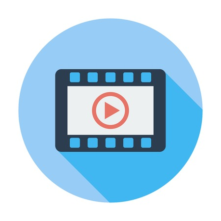 windows media video: V�deo. Soltero icono de color plano. Ilustraci�n del vector.