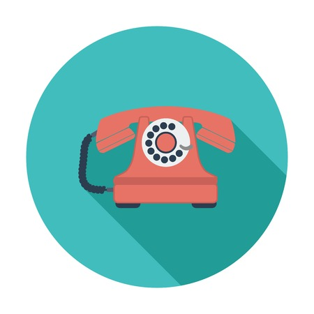 rotary phone: Vintage phone. Single flat color icon. Vector illustration.