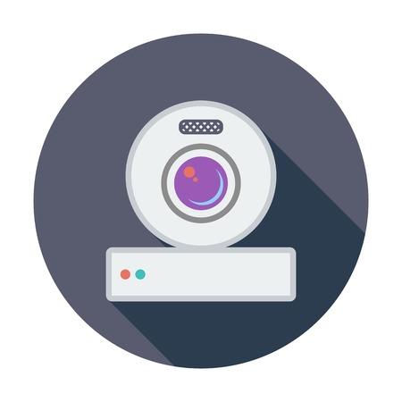 Web cam. Single flat color icon. Vector illustration.