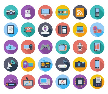 Devices icons, whit long shadow illustration. Vector
